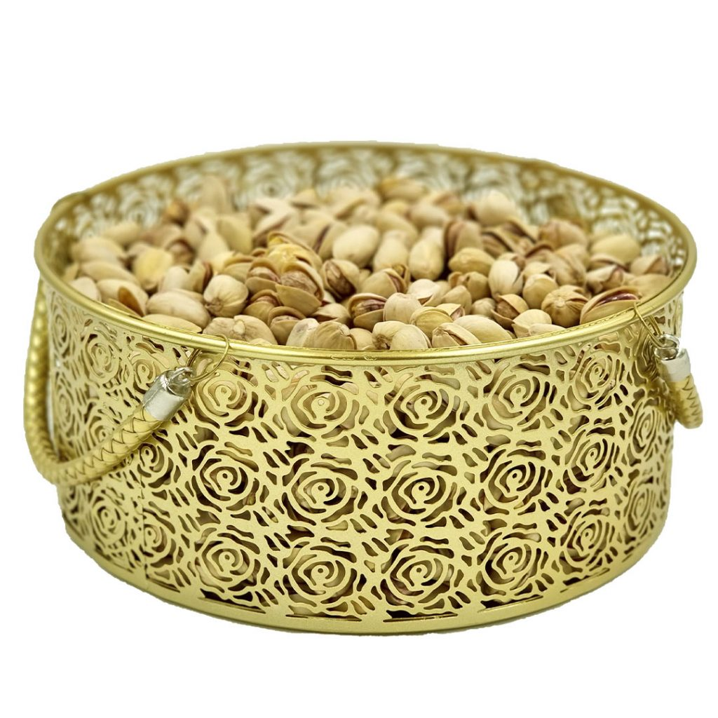 Fruit and Chocolate candy basket -Set of 2 Gold Colour