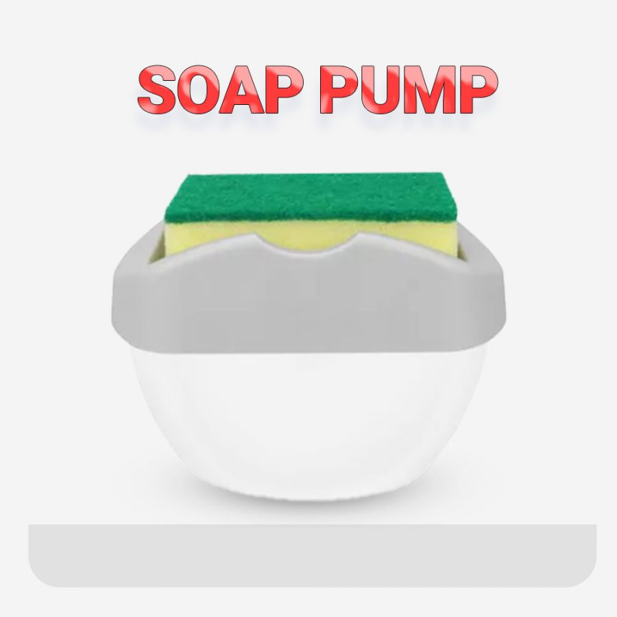 2 In 1 Soap Pump Caddy Dispenser With Cleaning Sponge Holder Multicolour,