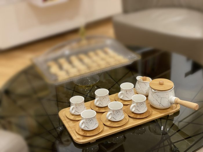 17PC Coffee Set With Bamboo Tray